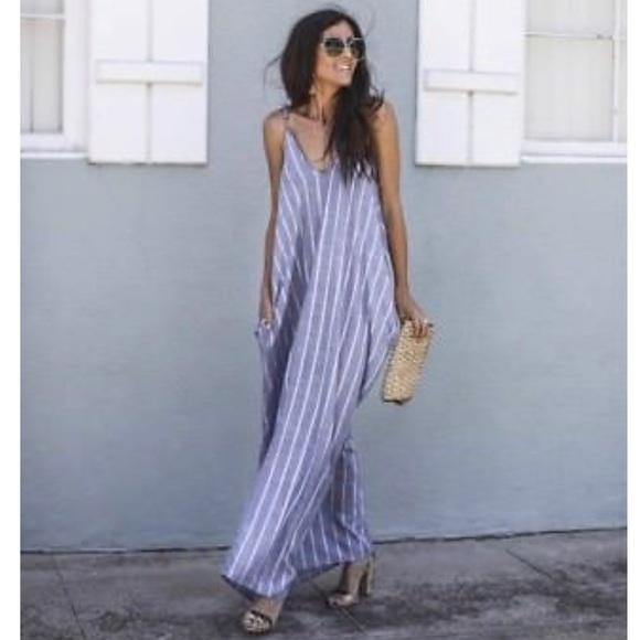 8b76cc30f8 Elan Dresses & Skirts - Elan Nordstrom Striped Chambray Maxi Dress